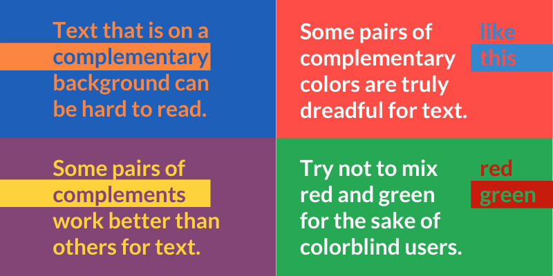 Text that is on a complementary background can be hard to read. Some pairs of complements work better than others for text. Some pairs of complementary colors are truly dreadful for text. Try not to mix red and green for the sake of colorblind users.