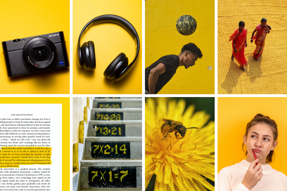 camera, headphones, man bouncing soccer ball, two women walking, girl thinking, bee on flower, math facts painted on steps, page of book